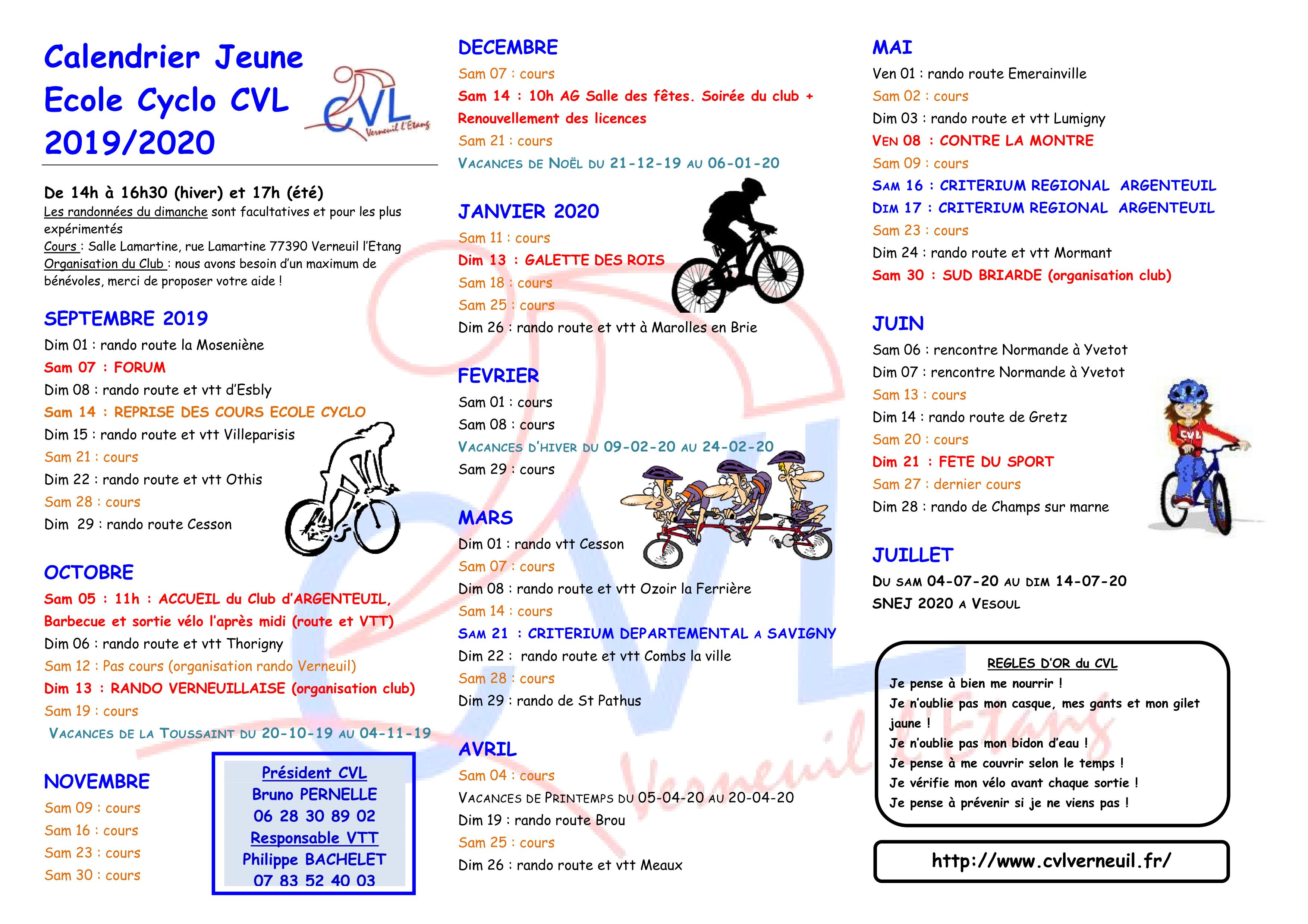 Calendrier Cyclo 2020.Calendrier Jeune 2019 2020